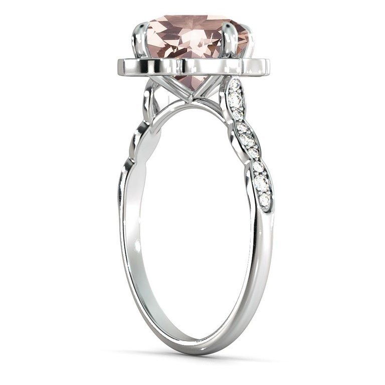 Art Deco 2.2 Carat 14 Karat White Gold Morganite and Diamonds Cushion Engagement Ring For Sale