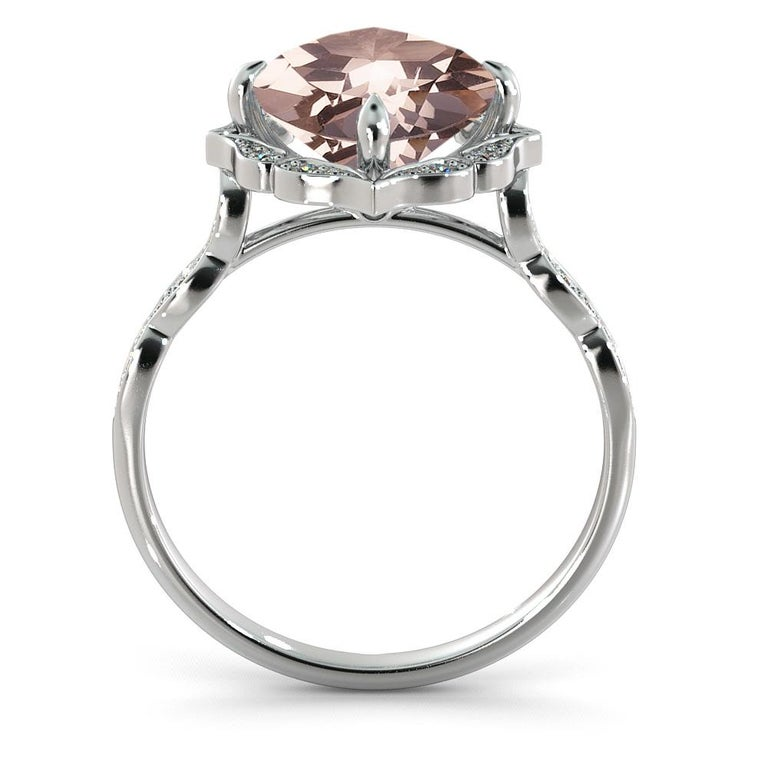 Cushion Cut 2.2 Carat 14 Karat White Gold Morganite and Diamonds Cushion Engagement Ring For Sale