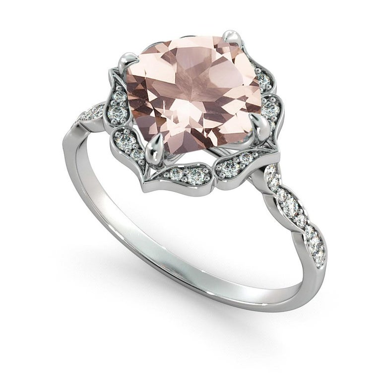 2.2 Carat 14 Karat White Gold Morganite and Diamonds Cushion Engagement Ring In New Condition For Sale In New York, NY