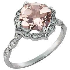 2.2 Carat 14 Karat White Gold Morganite and Diamonds Cushion Engagement Ring