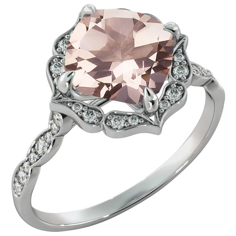 2.2 Carat 14 Karat White Gold Morganite and Diamonds Cushion Engagement Ring For Sale