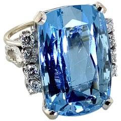 22 Carat Aquamarine and Diamond 14 Karat White Gold Cocktail Ring