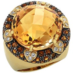 22 Carat Citrine and Diamond Cocktail Ring