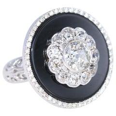 2.2 Carat Diamond Onyx White Gold Ring, 1930