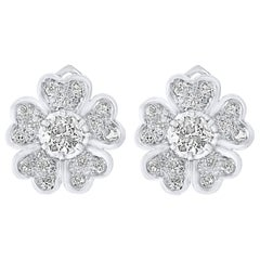 Certified 2 Carat Diamond VS Quality Flower/Cluster Earring Platinum 0.7 Carat