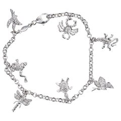 .22 Carat Diamond White Gold Animal Insect Charm Bracelet