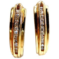 .22 Carat Diamonds Semi Hoop Earrings 14 Karat