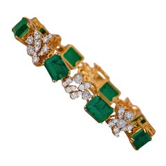 22 Carat Emerald and Diamond Bracelet