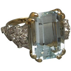 22 Carat Emerald Cut GIA Aquamarine Solitaire and Diamond 14 Karat Gold Ring