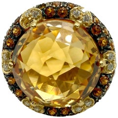 22 Carat Faceted Citrine and Diamond Yellow Gold Cocktail Ring