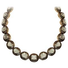 22 Carat Fancy Cut Diamond Silver Gold Pendant Necklace