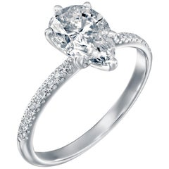 2.2 Carat GIA Pear Diamond Engagement Ring, Drop Shape Solitaire Diamond Ring