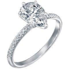 2.2 Carat GIA Pear Diamond Engagement Ring, Drop Shape Solitaire Diamond Ring