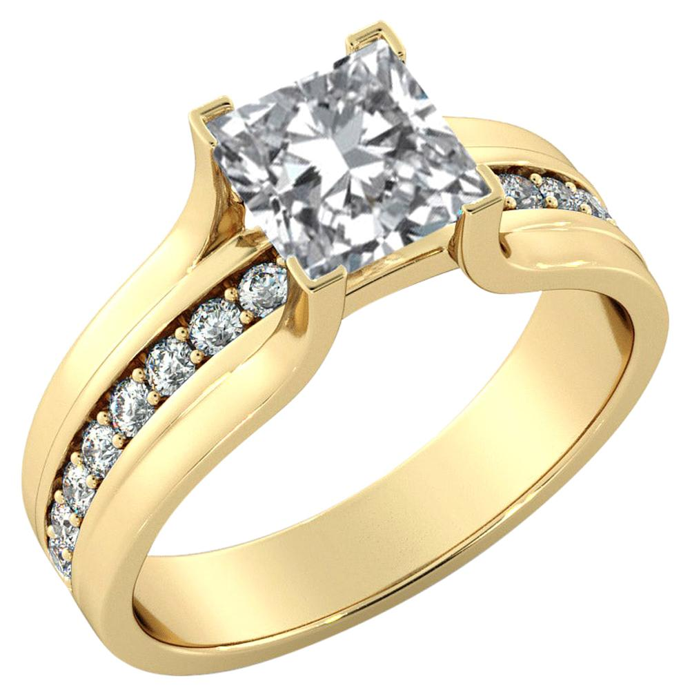 2.2 Carat GIA Princess Cut Diamond Engagement Ring, Bridge Channel Set Ring