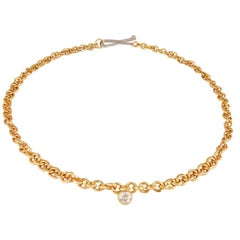 22 Carat Gold Hammered Graduated Chain Set with 1.55 Carat Old Cut Diamond