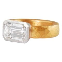 22 Carat Gold Hammered Ring with Platinum Set Emerald Cut Diamond 2.45 Carat GIA