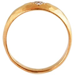22 Carat Gold Hammered Signet Ring with Star Set Old Cut Round Diamond 0.25 Cts