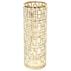 22-Carat Gold-Plated Shoju Screen Greek Key Overlay Glass Signed Vase, 1960s