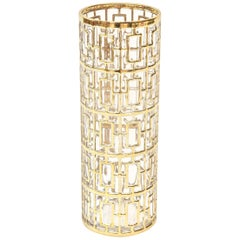 22-Carat Gold-Plated Shoju Screen Greek Key Overlay Glass Signed Vase, 1960s