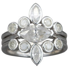 2.2 Carat Marquise Diamond Engagement Ring Set 14 Karat White Gold AD1701