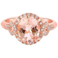 2.2 Carat Morganite and Diamond Ring in 18 Karat Rose Gold