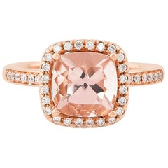 2.2 Carat Morganite and Diamond Ring in 18 Karat Rose Gold
