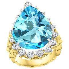 22 Carat Natural Blue Topaz and Diamond Cocktail Ring 18 Karat Gold, Estate