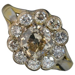 2.2 Carat Old Diamond 18 Carat Gold Cluster Engagement Ring