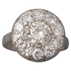 2.2 Carat Platinum and Diamonds French Art Deco Ring
