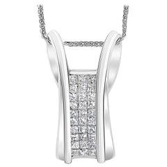2.2 Carat Princess Cut Diamond Pendant/ Necklace 14 Karat White Gold with Chain