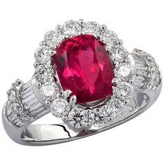 2.2 Carat Rubelite Tourmaline and Diamond Ring