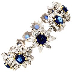 22 Carat Sapphire and Diamond Bracelet 18 Karat Gold