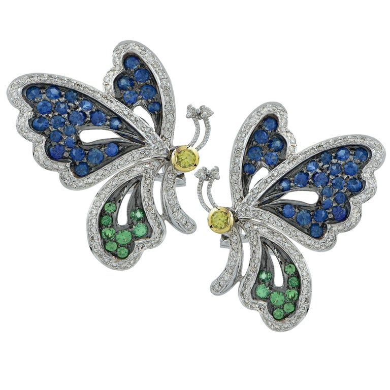 2.2 Carat Sapphire and Diamond Butterfly Earrings