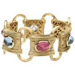 22 Carat Tw Aquamarine and Tourmaline Bracelet, 14 Karat Gold, Ben Dannie