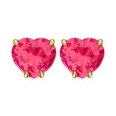2,2 Carat Vivid Pinkish-Red 18 Karat Yellow Gold Stud Earrings