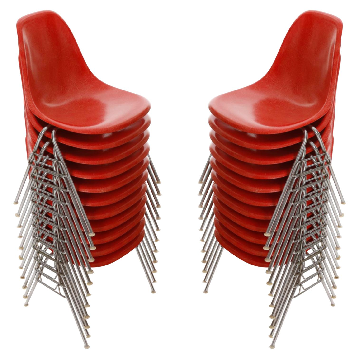 22 DSS Stacking Chairs, Charles & Ray Eames, Herman Miller, Red Fiberglass, 1974