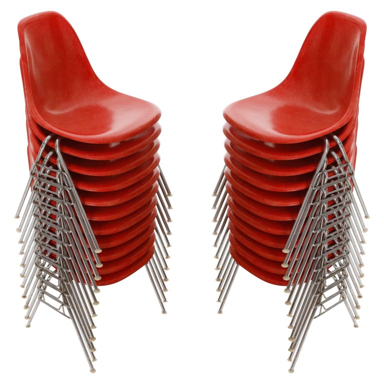22 DSS Stacking Chairs, Charles & Ray Eames, Herman Miller, Red Fiberglass, 1974 For Sale