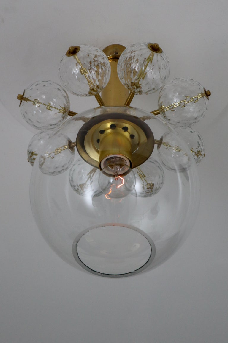 Mid-Century Modern 22 Hotel Chandeliers with Brass Fixture, Europe, 1970s For Sale