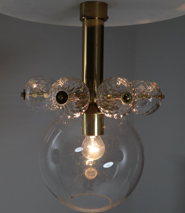 Late 20th Century 22 Hotel Chandeliers with Brass Fixture, Europe, 1970s For Sale