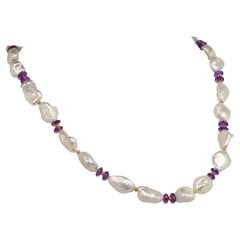 22 Inch Necklace of  Baroque Pearls and Amethyst Rondelles  June Birthstone