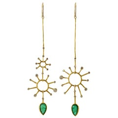 22 Karat-18 Karat Gold and Gemfields Emerald and Diamond Earrings