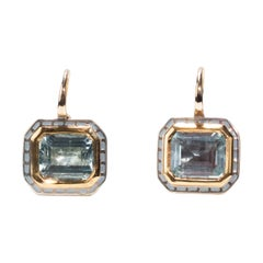 22 Karat and 14 Karat Gold, Sterling Silver and Lacquer Tile Mini Earrings