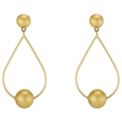 Gold Pear Shaped Wire Hoops with Round Orb Beads, Button Posts, Dangle Earrings