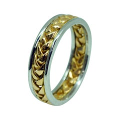 22 Karat and Platinum Hand Crafted Woven Band