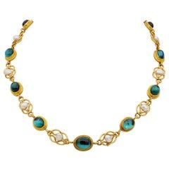 22 Karat Antique Etruscan Revival Tourmaline Pearl Rare Riviere Necklace