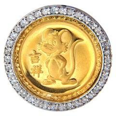 22 Karat Chinese Mouse Medallion Fortune Diamonds Pendant .50 Carat