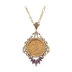 Gold 1911 George V British Half Sovereign 22 Karat Gold Pendant Amethyst Diamond