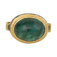 22 Karat Gold 7.13 Carat Natural Emerald Cabochon Ring with Enamel Work