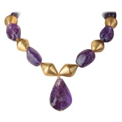 22 Karat Gold and Amethyst Beaded Pendant Necklace
