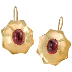 22 Karat Gold and Cabochon Garnet Earrings